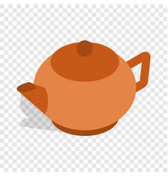 Brown teapot isometric icon vector