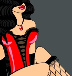 Brunette in red corset vector