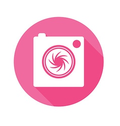 Camera icon long shadow symbol flat vector