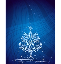 christmas tree on the blue background vector image vector image