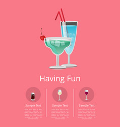 Classic alcohol drinks advert poster blue cocktail vector