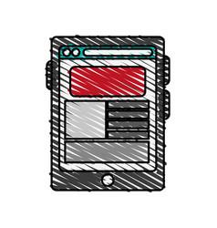 Color crayon stripe cartoon tablet technology vector