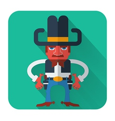 Cowboy with guns flat style icon vector image vector image