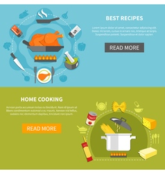 Culinary flat horizontal banners vector