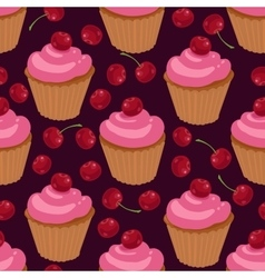 Cupcakes with cherries seamless pattern vector image vector image