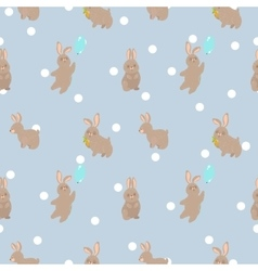 cute seamless pattern with rabbit vector image