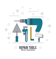 drill spatula wrench roll paint ruler icon repair vector image vector image