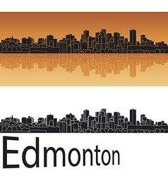 Edmonton skyline in orange background vector image