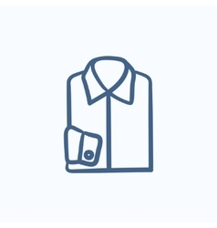 Folded male shirt sketch icon vector image vector image