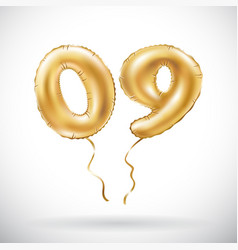 Golden number 0 9 zero nine metallic balloon vector