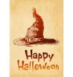 Happy halloween witsh hat drawn in a sketch style vector