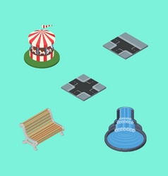 Isometric architecture set of carousel garden vector