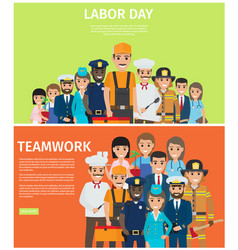 labor day and teamwork flat web banners vector image