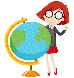 Little girl standing by the globe vector
