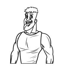 man athletic bodybuilding sport line vector image