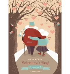 Old couple in love walking vector