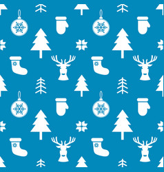 Pattern with white christmas elements on blue vector