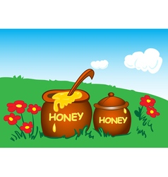 Pots with honey vector image vector image