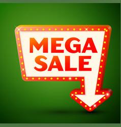 Retro billboard with inscription mega sale vector