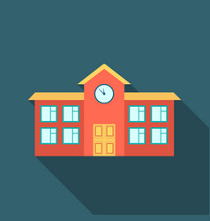 School icon flate single building icon from the vector