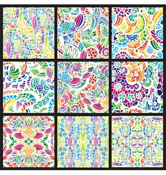 Set of nine hand-drawn seamless patterns vector image
