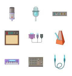 sound studio equipment icons set cartoon style vector image