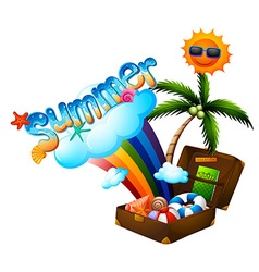 Summer theme with suitcase and sun vector