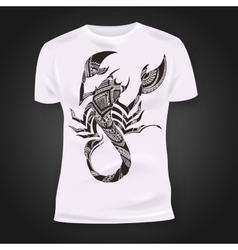 T-shirt print design with hand-drawn mehendi vector