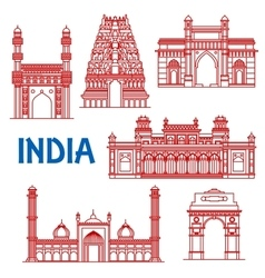 Thin line architecture landmarks of India icons vector image