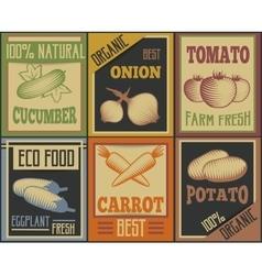 Vintage Vegetable Cards Set vector image vector image
