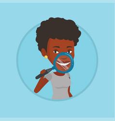 Woman examining her teeth vector