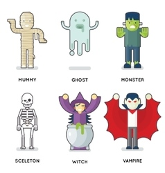 Halloween party monster roles characters icons set vector