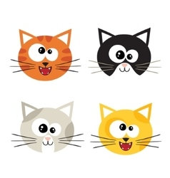 Cat emotions composite isolated on white vector image