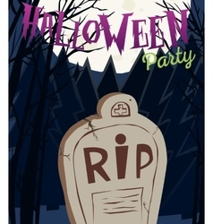 Halloween party poster with tombstone and moon vector