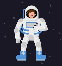Astronaut thumbs up shows well cosmonaut winks vector