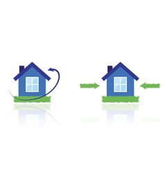 House with lawn and arrows vector image