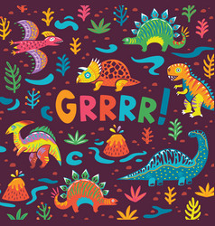 dinosaurs party card design vector image