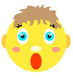 smiley boy screams scared vector image
