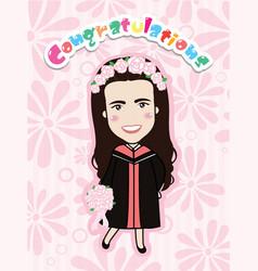 Cute graduation girl vector
