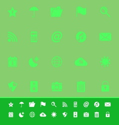 Tool bar color icons on green background vector