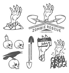 Funny Halloween zombie design elements vector image