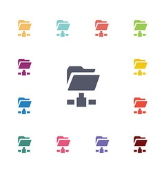Net folder flat icons set vector