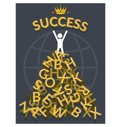 Man on top of alphabets with success vector