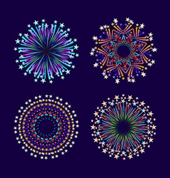 Party and holiday event firework icon flat set vector