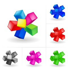 abstract colored cubes set vector image