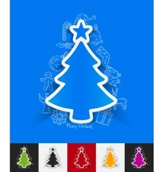 Christmas tree paper sticker with hand drawn vector