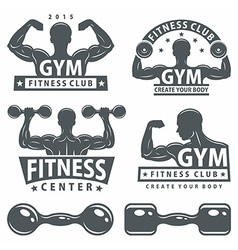 Gym and fitness emblems vector