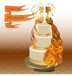 Wedding cake with couple peacocks golden orange vector