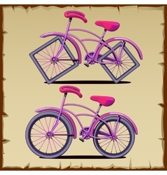Set of bicycle with round and square wheels vector