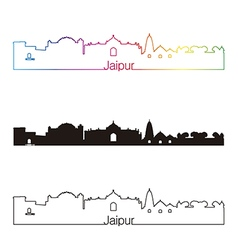 Jaipur skyline linear style with rainbow in vector image